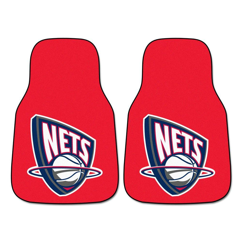 FANMATS New Jersey Nets 18 in. x 27 in. 2-Piece Carpeted Car Mat Set
