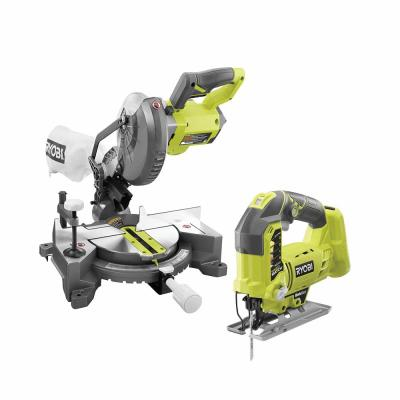 18-Volt ONE+ Lithium-Ion Cordless 7-1/4 in. Compound Miter Saw and Orbital Jig Saw (Tools Only)