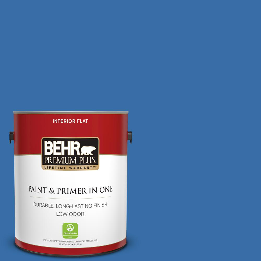 BEHR Premium Plus 1 gal  #P520-6 Mega Blue Flat Low Odor Interior Paint and  Primer in One