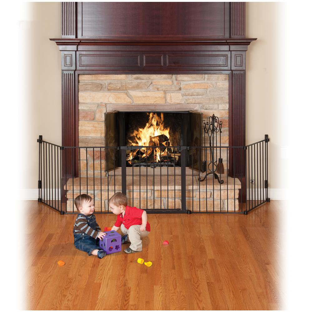 kidco 29 5 in h custom fit gate auto close hearth gate in black rh homedepot com