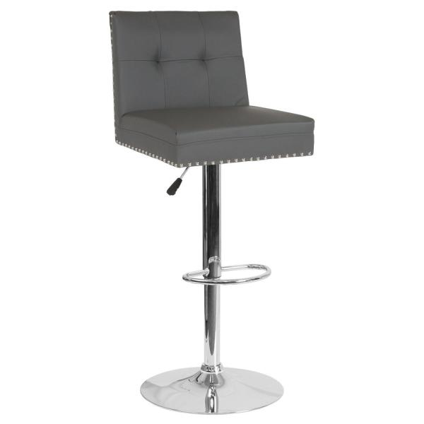 Carnegy Avenue 34 in. Adjustable Height Gray Leather Bar Stool