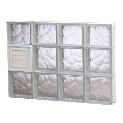31 in. x 21.25 in. x 3.125 in. Frameless Wave Pattern Glass Block Window with Dryer Vent