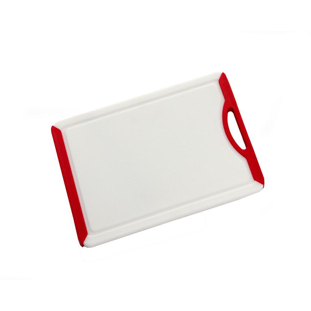 Medium PP White Cutting Board with TPR Soft Grip