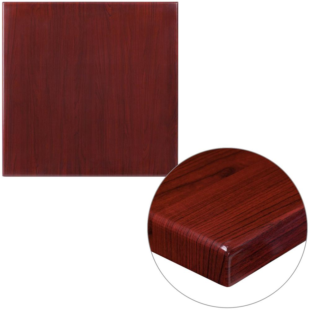 24 in. Square High-Gloss Mahogany Resin Table Top with 2 in.