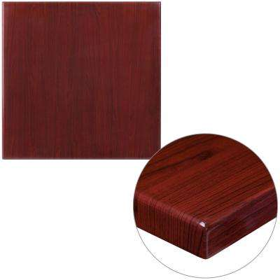 24 in. Square High-Gloss Mahogany Resin Table Top with 2 in. Thick Drop-Lip