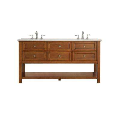 Austell 67 in. W x 22 in. D Vanity in Winter Cherry with Marble Vanity Top in White with White Basin
