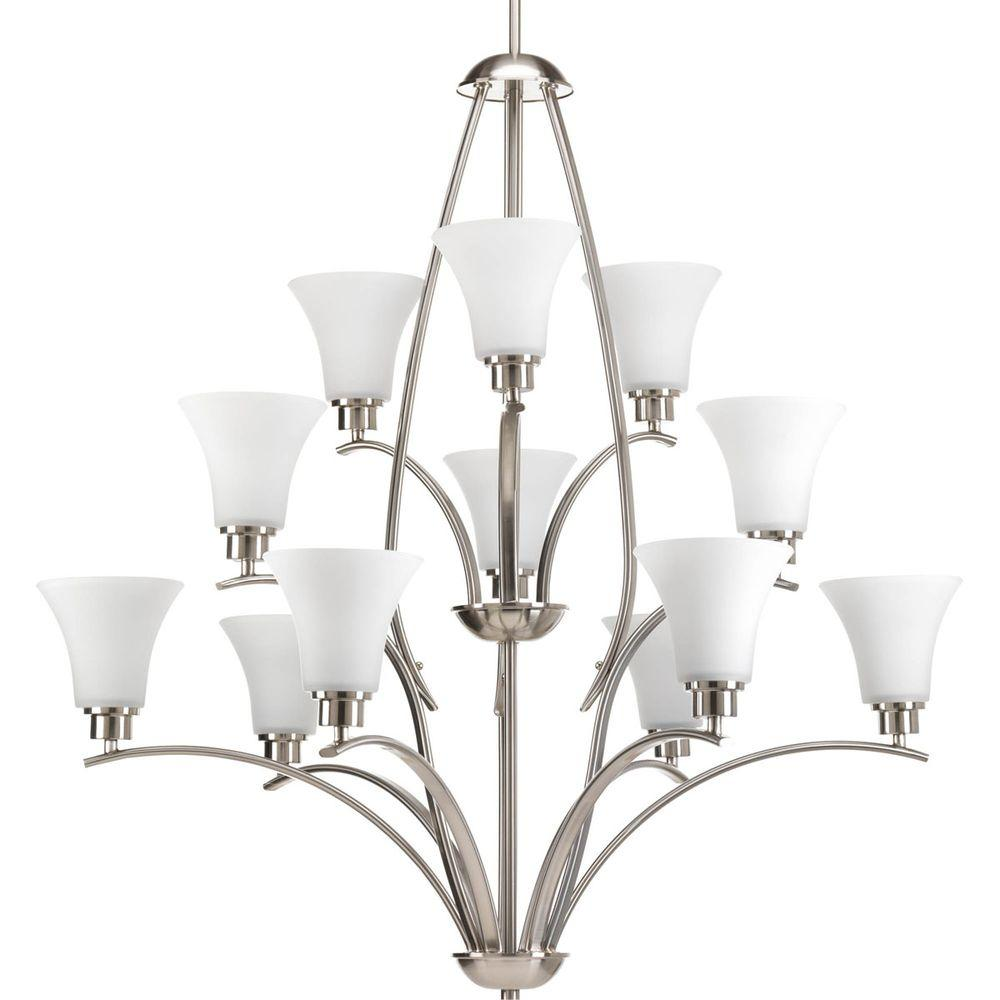 Joy Collection 12-Light Brushed Nickel Chandelier with Shade with Etched Glass