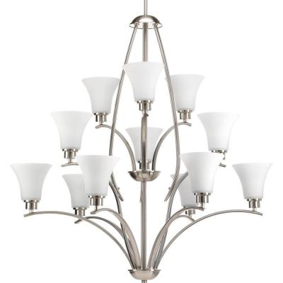 Joy Collection 12-Light Brushed Nickel Chandelier with Etched Glass Shade