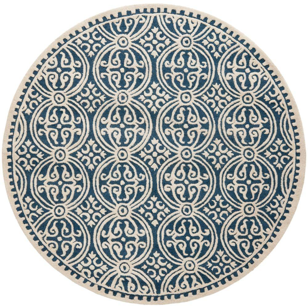 Blue And White Circle Rug: Safavieh Cambridge Navy Blue/Ivory 8 Ft. X 8 Ft. Round