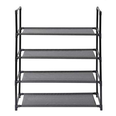 12-Pair Black 4-Tier Shoe Storage Rack