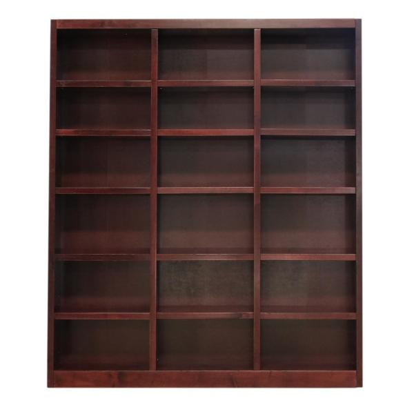 84 in. Cherry Wood 18-shelf Standard Bookcase with Adjustable Shelves