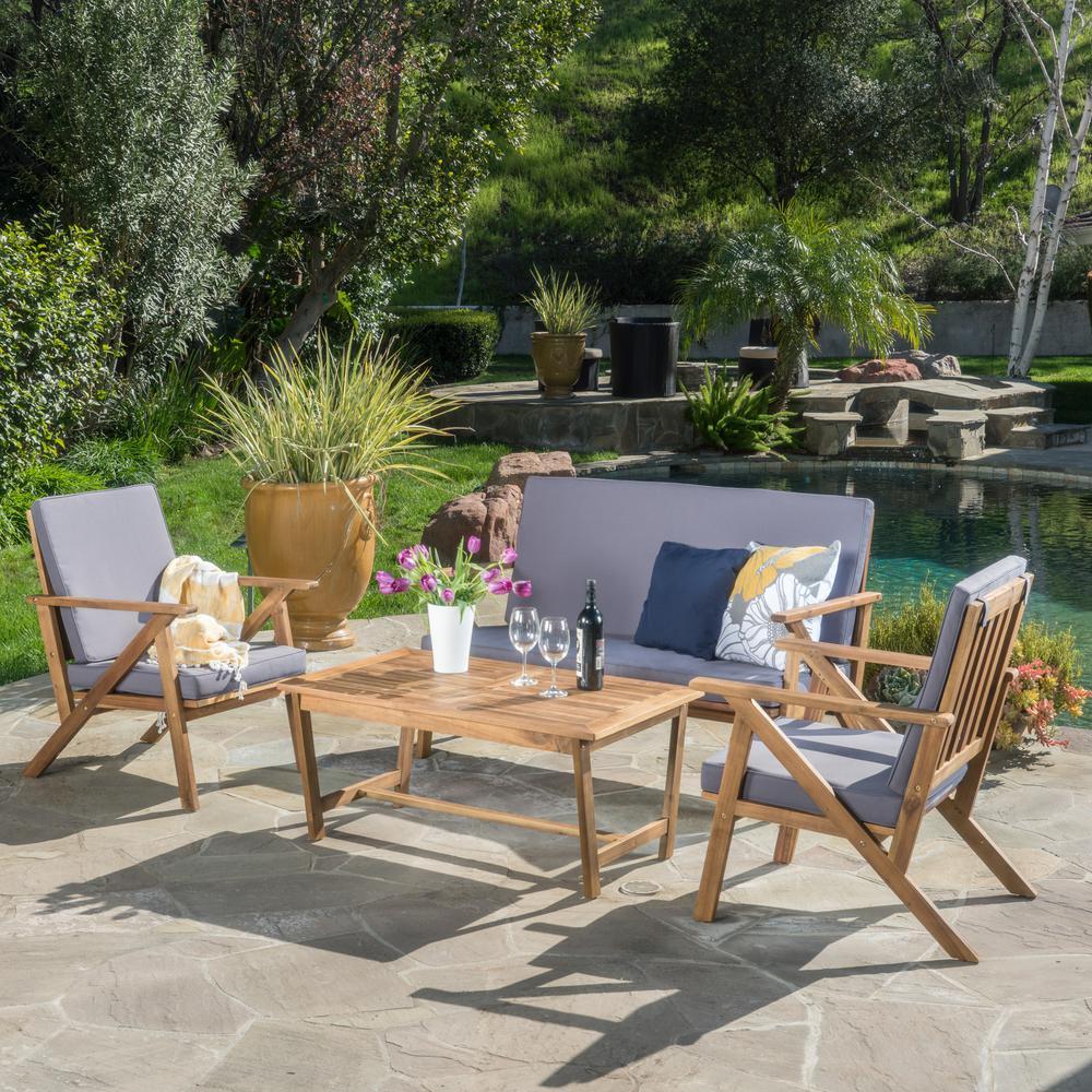 Panama Teak Finish 4-Piece Wood Patio Conversation Set with Grey Cushions