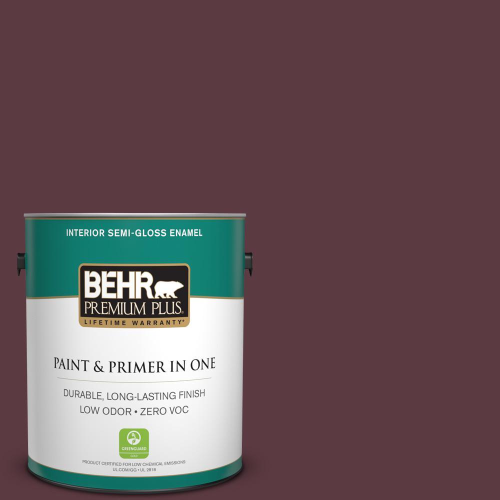 1 gal. #110F-7 Deep Garnet Semi-Gloss Enamel Zero VOC Interior Paint