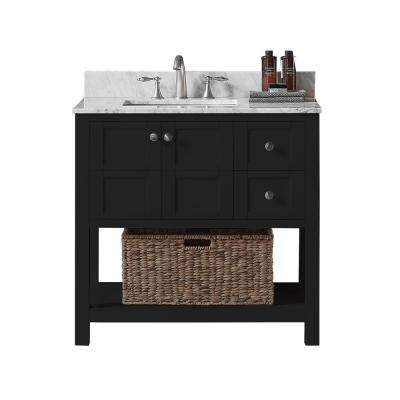 Makena 36 in. W x 22 in. D x 34.2 in. H Bath Vanity in Espresso with Carrara Marble Vanity Top in White with White Basin