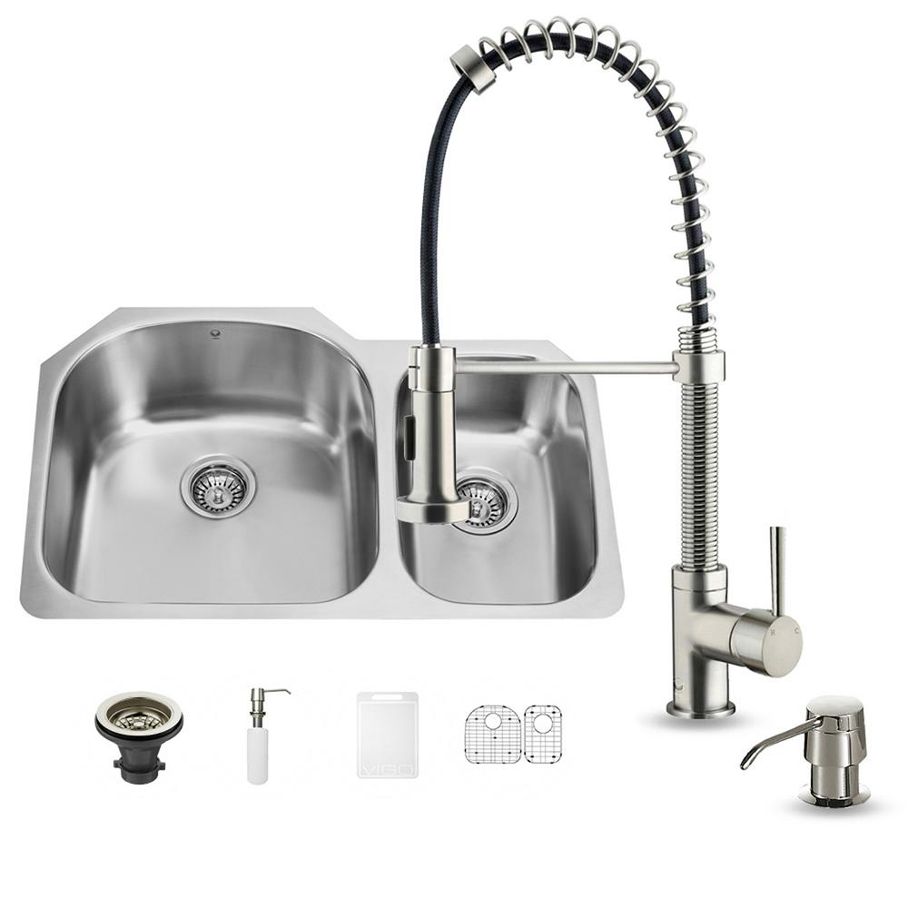 VIGO All-in-One Undermount Stainless Steel 32 in. Double Basin Kitchen Sink in Stainless Steel