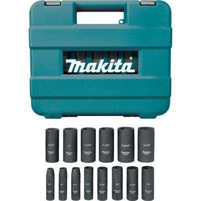 1/2 in. 6-Point Fractional Deep Impact Socket Set (14-Piece)