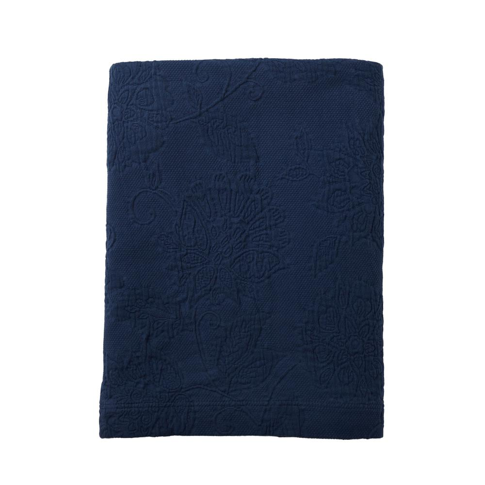 TheCompanyStore The Company Store Putnam Matelasse Navy Cotton King Coverlet, Blue