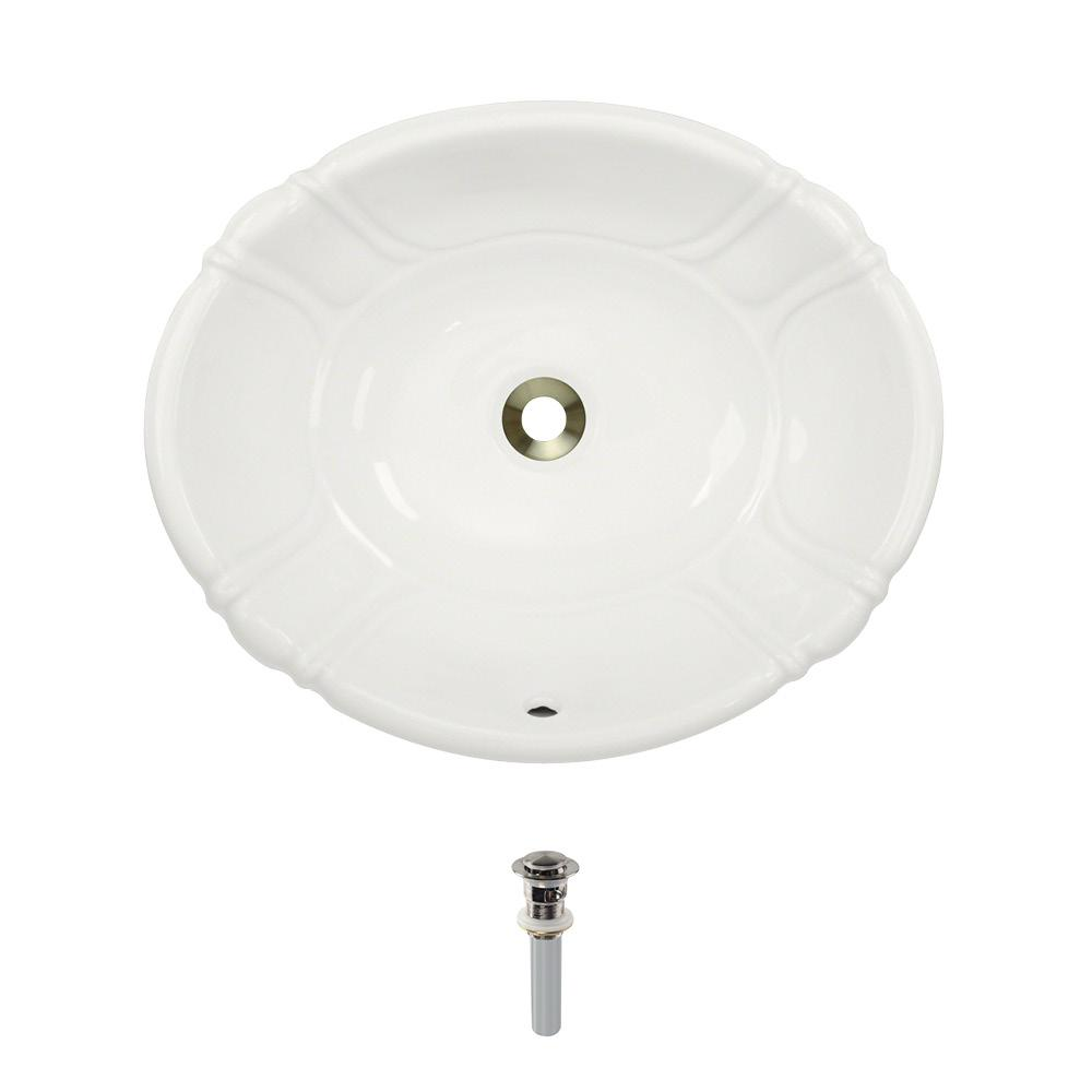 Dual-Mount Porcelain Bathroom Sink in Bisque with Pop-Up Drain in Brushed