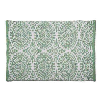Mandala Green 2 ft. x 3 ft. Rectangular Indoor/Outdoor Area Rug