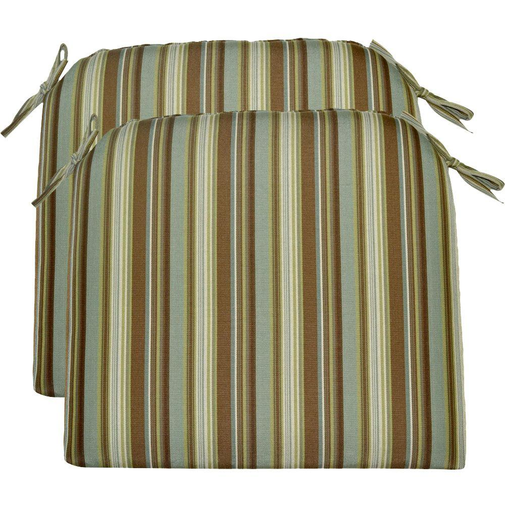 Hampton Bay Spa Stripe Outdoor Seat Pad (2-Pack)