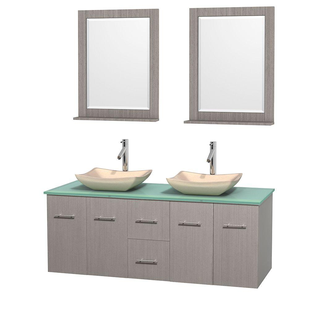 Wyndham Collection Centra 60 in. Double Vanity in Gray Oak with Glass Vanity Top in Green, Ivory Marble Sinks and 24 in. Mirrors