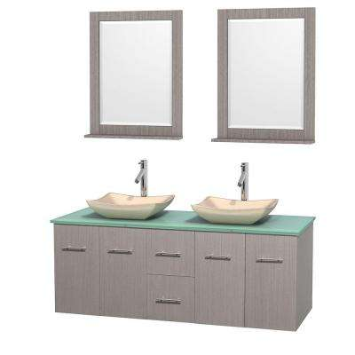Centra 60 in. Double Vanity in Gray Oak with Glass Vanity Top in Green, Ivory Marble Sinks and 24 in. Mirrors