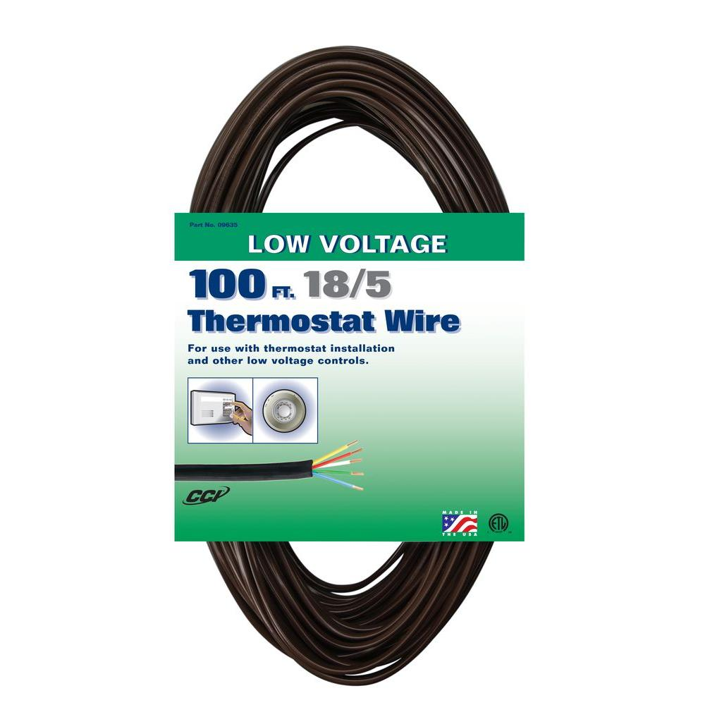 100 ft. 18/5 Brown Solid CU CL2 Thermostat Wire