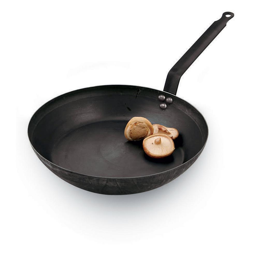 12-1/2 in. Black Steel Frying Pan