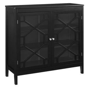 Transitional Large Black Wood and Glass Cabinet with 3-Shelves