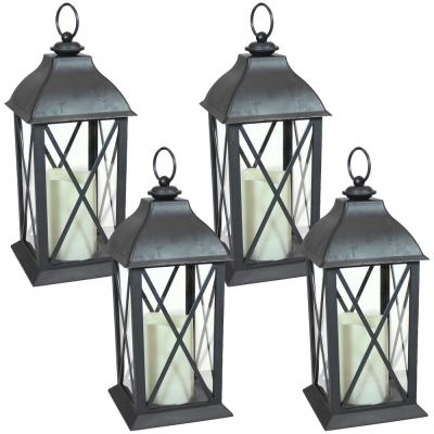 Lexington Black Battery-Powered LED Candle Lantern - 10 in. (4-Pack)