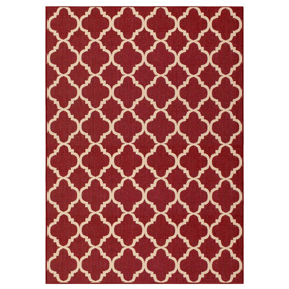 Superior Hampton Bay Trellis Red Reversible 5 Ft. 3 In. X 7 Ft. 5 In. Indoor/Outdoor  Area Rug RGAR055466   The Home Depot