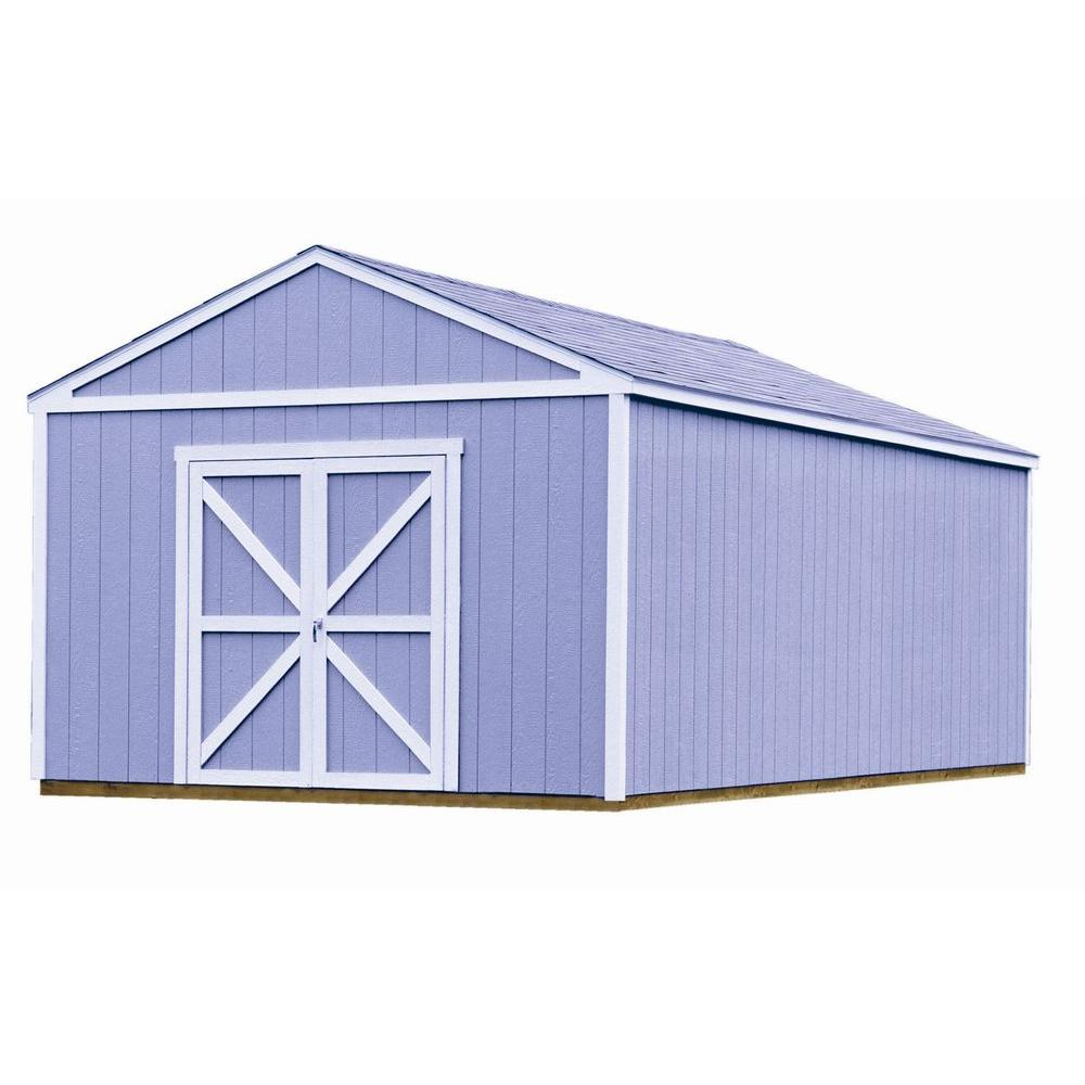 Handy home products columbia 12 ft x 24 ft wood storage building kit