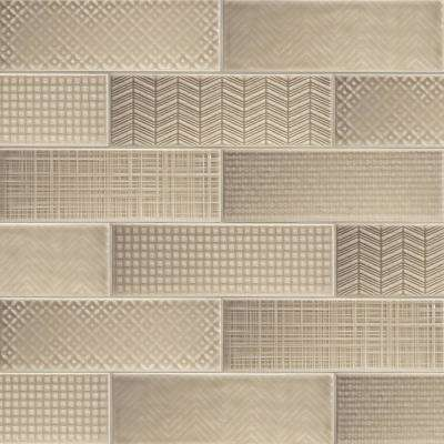 Citylights Warm Concrete 3D Mix Glossy 4 in. x 12 in. Glazed Ceramic Wall Tile (9.9 sq. ft./case )