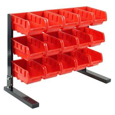 15-Compartment Stackable Bench Top Parts Rack