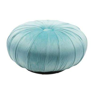 Bund Light Blue Velvet Accent Ottoman