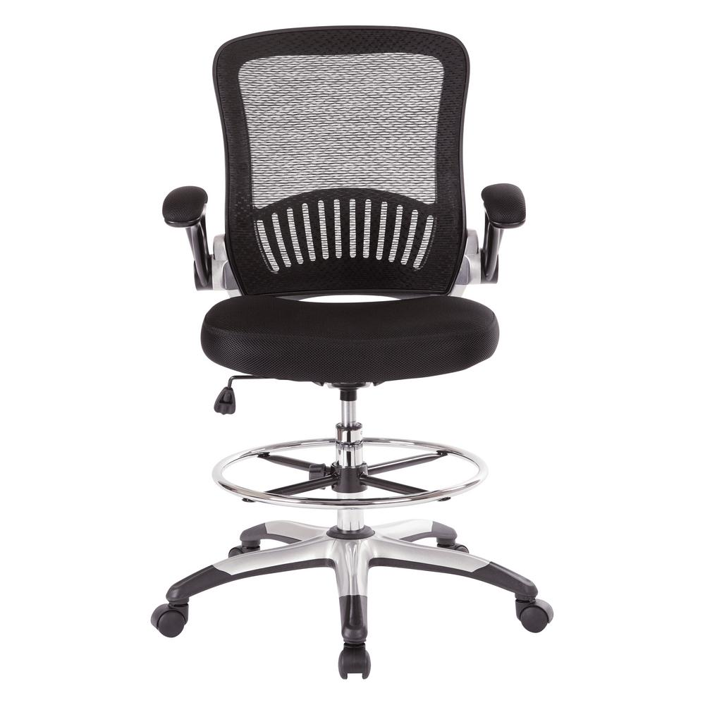 Black Mesh Back Drafting Chair with Adjustable Foot Ring, Padded Flip