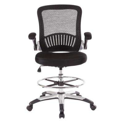 Black Mesh Back Drafting Chair with Adjustable Foot Ring, Padded Flip Arms and Silver Frame