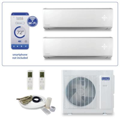 Brisa Dual Zone 18000 BTU 1.5 Ton Wi-Fi Ductless Mini Split Air Conditioner and Heat Pump with 25 ft. Install Kit 230V