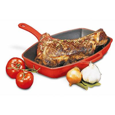 12-1/2 in. x 9 in. Enameled Red Cast Iron Rectangular Grill Pan