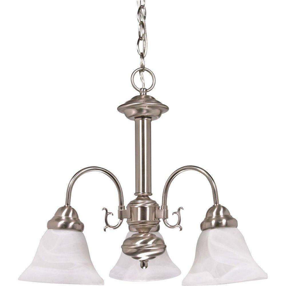 3-Light Brushed Nickel Chandelier with Alabaster Glass Bell Shades