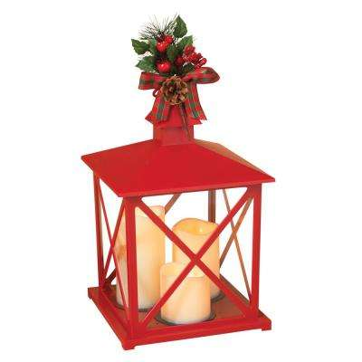 14.76 in. H Red Plastic Lantern with Glass, Pinecone and Mistletoe with Plaid Bow and 3 LED Plastic Candles