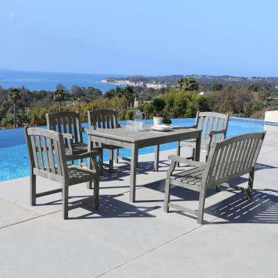 Renaissance Hand-Scraped Wood 6-Piece Outdoor Dining Set with 4 ft. Bench