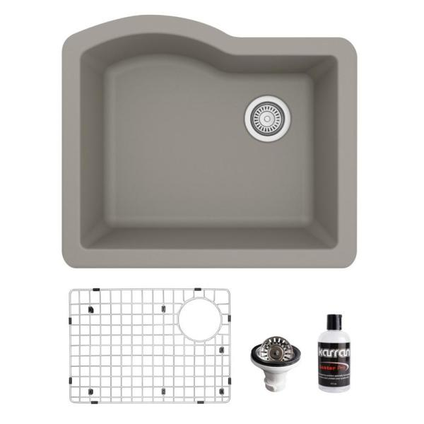 QU-671 Quartz/Granite Composite 24 in. Single Bowl Undermount Kitchen Sink with Grid and Basket Strainer in Concrete