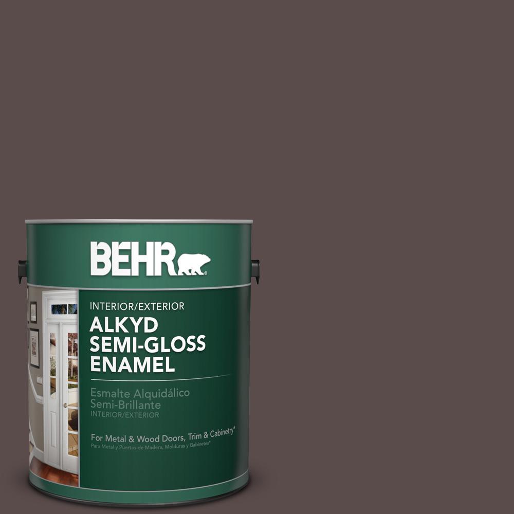 1 gal. #HDC-AC-07 Oak Creek Semi-Gloss Enamel Alkyd Interior/Exterior Paint