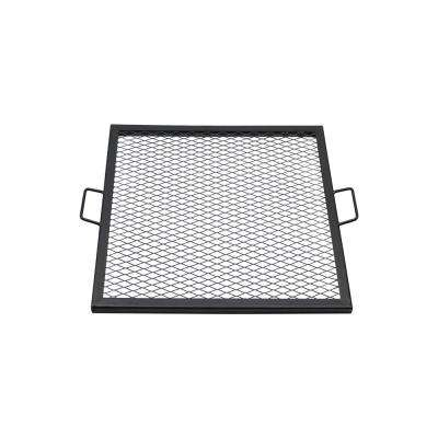 24 in. X-Marks Steel Black Square Fire Pit Cooking Grill