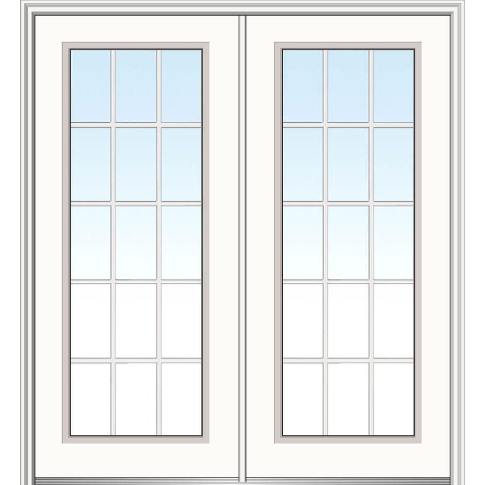 Mmi door 64 in x 80 in clear glass internal grilles full for Fiberglass entry doors with glass