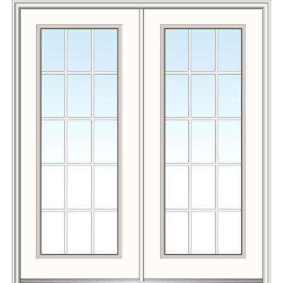 64 in. x 80 in. White Internal Grilles Right-Hand Inswing Full Lite Clear Primed Fiberglass Smooth Prehung Front Door