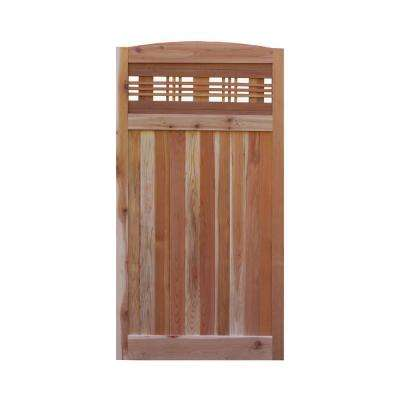 3 ft. x 6 ft. Western Red Cedar Arch Top Horizontal Lattice Fence Gate