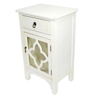 Shelly Assembled 18 in. x 18 in. x 13 in. Antique White Wood Glass Accent Storage Cabinet with a Drawer and a Door