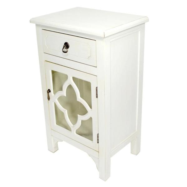 HomeRoots Shelly Assembled 18 in. x 18 in. x 13 in. Antique White Wood Glass Accent Storage Cabinet with a Drawer and a Door